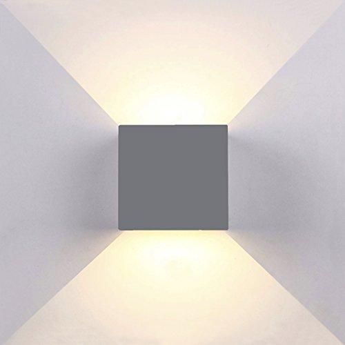 Topmo-plus 6W LED Wandlampe mit einstellbar Abstrahlwinkel inkl. 2 OSRAM COB LED Leuchtmittel Aluminium IP65 Wasserdichte 660LM Quadrat Wandbeleuchtung 3000K Warmweiß Up & Down Innen/Außenwandleuchten 10CM grau