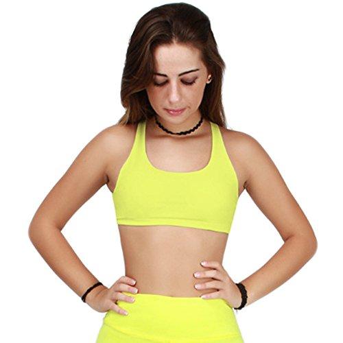 WintCO Soutien Gorge de Sport Femmes Underwear Sportif sans Armature Push Up Sous-vêtements d'entraînement Yoga Jogging Legging Multicolor Jaune