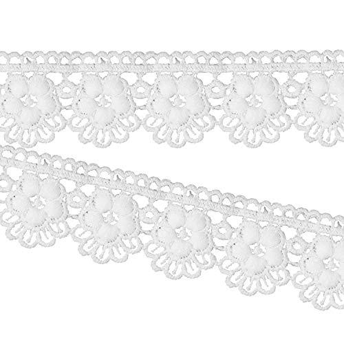 Gestickte Crochet Lace (Breiter Crochet Baumwolle Polyester Bridal Hochzeit Spitze für Headbands Babys von trimmen Shop, Textil, weiß, 34 MM)