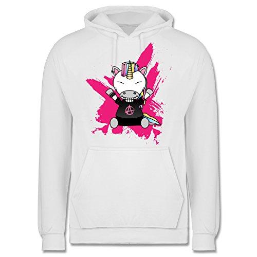 Comic Shirts - Punk Einhorn - Männer Premium Kapuzenpullover / Hoodie Weiß