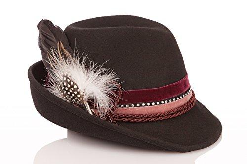 Trachten Damen Hut - Samt - Bordeaux, braun, Größe 54