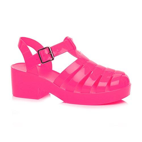 Donna tacco medio blocchetto gladiatore retrò fibbia sandali di gomma '90 taglia (Neon Pink Jelly)