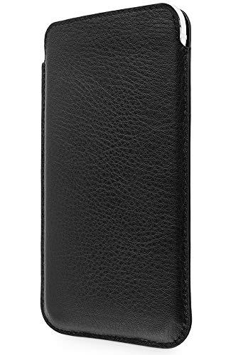 WIIUKA Echt Ledertasche - Pure - für Apple iPhone 11 Pro MAX & iPhone XS MAX, extra Dünn, kabellos Laden Qi, Hülle im Slim Design, Schwarz, Premium Leder Tasche Case
