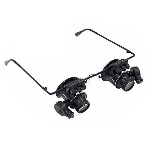 Lupenbrille,Kopfbandlupe elektronische Reparatur Werkzeug Vergrößerungsglas für Juwelier und Uhrenmacher 20x Kopfbandlupe mit LED Lampen schwarz