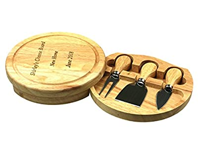 Customised Wood Cheese Board Knife Set, 19cm Round Gift, Wedding, Fathers, Mothers Day, House Warming Present