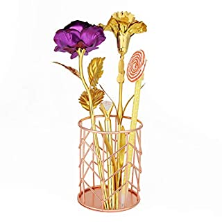 XIYAO Pen Bucket Stationery Pencil Holders Wrought Iron Desktop Storage Basket - Gold Color 10 * 8CM