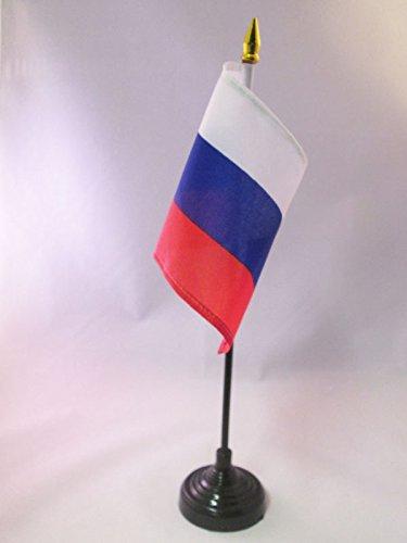 AZ FLAG TISCHFLAGGE Russland 15x10cm goldene splitze - RUSSISCHE TISCHFAHNE 10 x 15 cm - flaggen