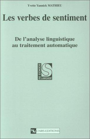 Verbes de sentiment : De l'analyse linguistique au traitement automatique