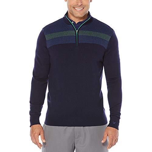 Callaway Herren Opti-Therm 1/4-Zip Chest Stripe Jacquard Pullover Golf Pullover, Herren, Night Sky Heather - Jacquard Zip Jacket