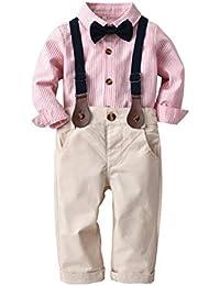 d1496230144dd Backbuy 3 PCS Vêtements Suite Bébé Garçons T-Shirt Noeud Papillon Costume  Gilet+Chemise