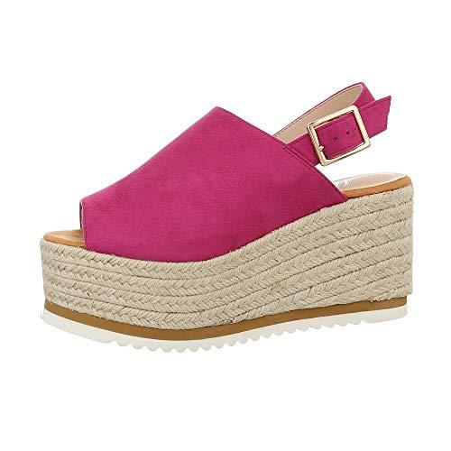 Ital-Design Damenschuhe Sandalen & Sandaletten Keilsandaletten Synthetik Pink Gr. 39 Damen Fashion Kleid