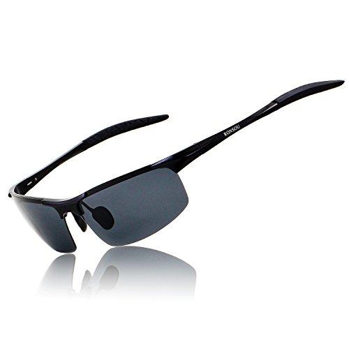 RONSOU Herren Sport Al-Mg Polarisiert Sonnenbrille Unzerbrechlich zum Fahren Radfahren Angeln Golf schwarz rahmen/grau linse