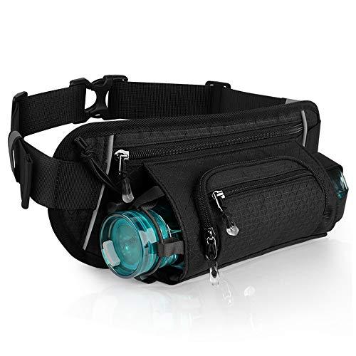 ELEPOWSTAR Gürteltasche für Trinkflasche Behälter, Wasserdicht Bauchtasche mit Kopfhörerausgang, Damen/Herren Hüfttasche für Laufen Fahrradfahren Bergsteigen