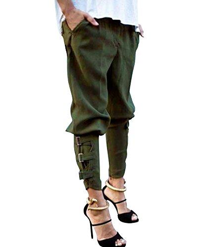StyleDome Pantaloni Lunghi Casuali Eleganti Ufficio Sport Jogging Cotone per Donna Verde Militare IT 48-50