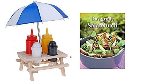 Grillset Holz-Picknicktisch mit Sonnenschirm, Kunststoff-Salz- & Pfefferstreuer & Senf- & Ketchup-Flasche + Salatbuch