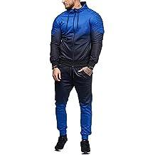 Chándal para Hombre,Hombres otoño Invierno Franja gradiente Color Sudadera Top Pantalones Conjuntos chándal Conjuntos