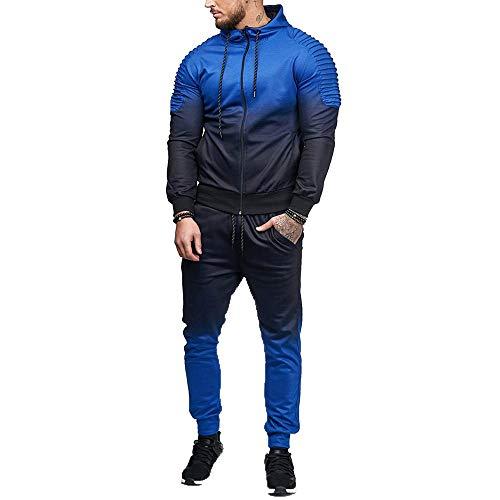 UJUNAOR Männer Trainingsanzug Lässiger Sport Gradient Streifen Hoodie Sweatshirt Mode Herbst Top Hosen Set(Blau,EU XL/CN 2XL)