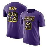 Herren T-Shirt NBA Los Angeles Lakers Lebron James Jersey Rundhals Atmungsaktives Basketball-Shirt für die Jugend Top Komfortables Sport-T-Shirt Purple2-XL