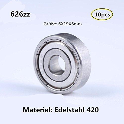 626zz 6x19x6mm Edelstahl 420 Lager Miniaturlagern Rillenlager fü Motor Werkzeuge Ausrüstung Miniaturmotor 10-Pcs (626ZZ) - Ausrüstung Motor