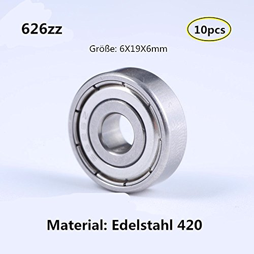 626zz 6x19x6mm Edelstahl 420 Lager Miniaturlagern Rillenlager fü Motor Werkzeuge Ausrüstung Miniaturmotor 10-Pcs (626ZZ)