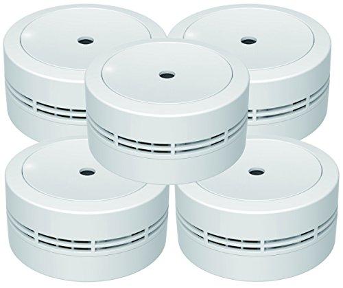 Jeising Mini Rauchmelder GS535 5er Set weiß 10 Jahres Lithium Batterie - VDs geprüft EN14604...