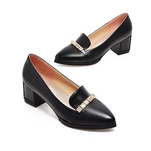 VogueZone009 Femme Pointu à Talon Correct Matière Souple Mosaïque Tire Chaussures Légeres Noir