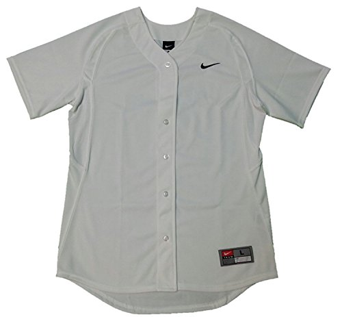 Nike-womens Stock (Nike Women's Stock Full Button Softball Jersey (Medium, White))