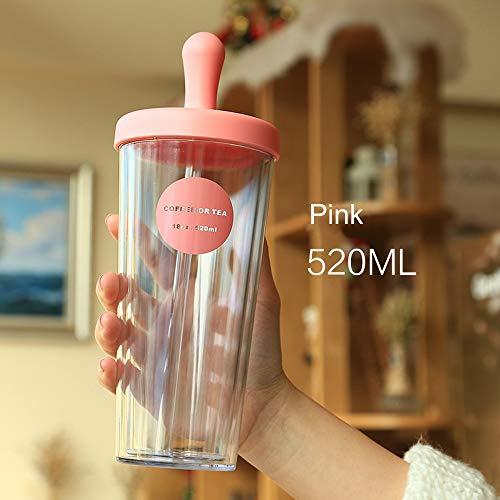 siliskin Silikon Strohbecher 520ML - Home wiederverwendbar 100% lebensmitteltauglichen BPA-freien weichem Silikon auslaufsicher Reisestrohhalm Deckel für die meisten Trinkbecher & Gläser (PINK) (Strohhalm Universal-deckel)
