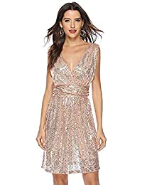 b2f735ffcf4d Rostiumise Women's Sexy Deep V Neck Sleeveless Glitter Sequined Dress Party  Wedding Bridesmaids Evening Cocktail Dresses