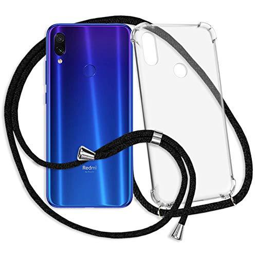 mtb more energy® Handykette für Xiaomi Redmi Note 7, Note 7 Pro (6.3'') - schwarz - Smartphone Hülle zum Umhängen - Anti Shock Strong TPU Case