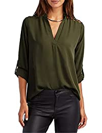 fb5173f5b9aec8 FIYOTE Womens V Neck Chiffon 3 4 Cuffed Sleeve Cut Out Cold Shoulder Casual  Blouses Tops
