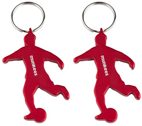 munkees 2 x Schlüsselanhänger Fussball I Flaschenöffner I Fußball Fanartikel I Geschenk Artikel, Doppelpack Rot, 34904