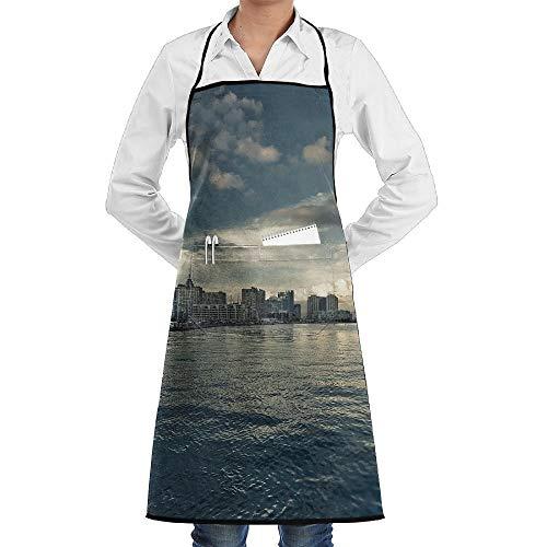 Sangeigt Küche, die Garten-Schürze kochtn, Bib Apron Pockets City Lake Durable Cooking Kitchen Aprons