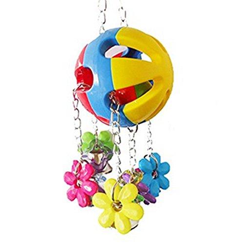 Fablcrew Kauspielzeug zum Aufhängen für Vogel Papagei Ara mit Blumen und Glocke aus Acryl Spielzeug Schaukel Kauspielzeug Papagei