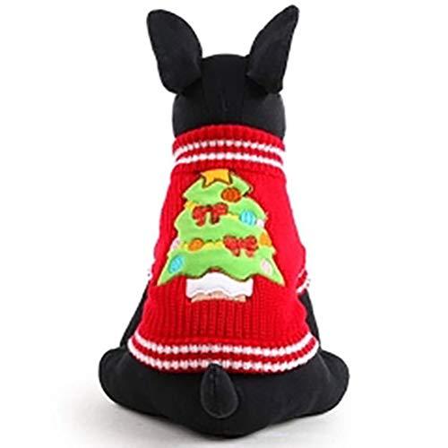 (UGUAX Weihnachtsbaum-Winter-Hundepullover-Strickmantel-Kleiderkleidung für Kaltes Wetter)