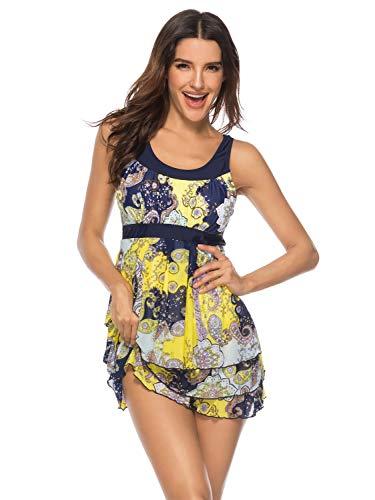 H.Y.FFYH Tankini Damen Blouson Floral H-Back Push Up Tankini Top Bauch Control Bademode Abnehmen Badeanzüge S-XXXL Frauenkleider (Color : Gelb, Size : L) (Blouson Top Badeanzug)