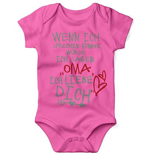 Welt Kostüm Der Farbe - Mikalino Babybody mit Spruch für Jungen Mädchen Unisex Kurzarm Wenn ich sprechen könnte würde ich Sagen: Oma ich Liebe Dich | handbedruckt | Handmade with Love, Grösse:68, Farbe:pink