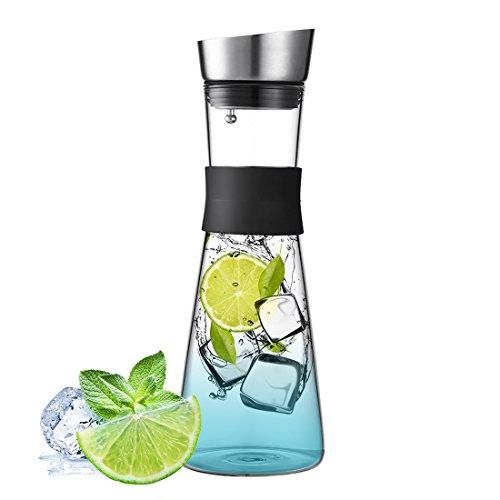 Beyonda - Jarra de agua de cristal de 1000 ml, jarra de hielo frío con tapa e infusor de acero inoxidable, jarra de cristal de borosilicato para vino tinto, zumo, leche, agua fría, café caliente, etc., vidrio, blanco, 1,5 L