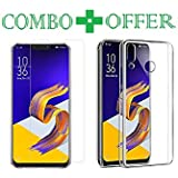 Azzil Tempered Glass & Back Cover, Premium [Combo Transparent] Perfact Fit Case Cover For Asus Zenfone 5z Zs620KL