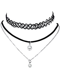 lureme® Vendimia Clásico Joyería Sencillo Multilayers with 2 Faux Pearls Pendants Negro Elástico Tramo Choker Collar (nl004182)