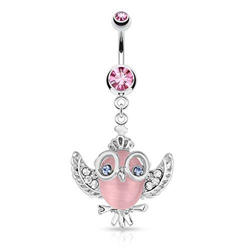 PunkJewelry Piercing Bauchnabelpiercing Barbell Eule mit Brille 316L Chirurgenstahl Farbe- pink