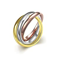 lureme® Classic Stainless Steel Triple Tone Tri-Roll Links Band Ring Composed of 3 Colors: Gold, Rose Gold,Steel)(04001520-1)