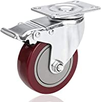 Voluker Set de 4 Ruedas Giratorias con placa de montaje,100mm,Ruedas muebles con Freno (Capacidad de carga máxima 400 KG)