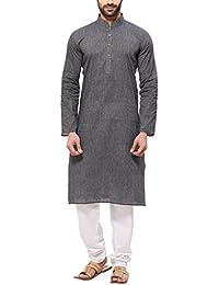 RG Designers Men's Handloom Gray Kurta Pyjama