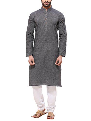 RG Designers Men's Cotton Kurta Pajama Set (HandloomGrayKurta Pajama Set36_Grey_Small)