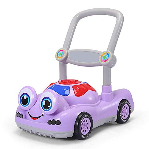 BGROESTHE Lauflernhilfe Kinderwanderer mit Früherziehung Kinderwagen Anti-Rollover Baby Schritt Schritt Drücker Walker von Hand schieben (Farbe : Lila, Größe : 96.5 * 34 * 53CM) -