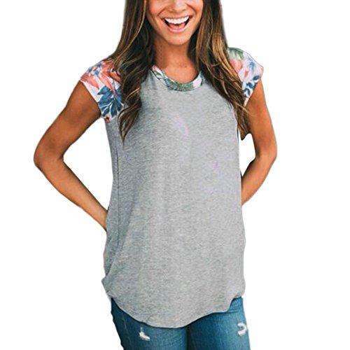 OverDose Damen Lässige Blumen Splice-Streifen Druck Rundhalsausschnitt Pullover Bluse Tops T-Shirt (S, F-Grau)