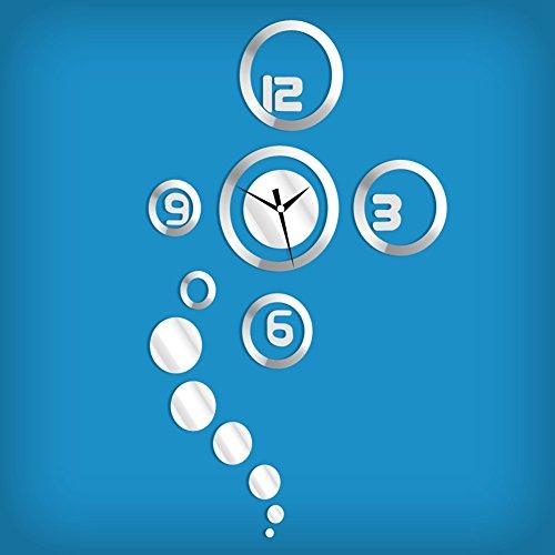 Zuoao Wandtattoo Uhr mit Modernem Design,3D DIY Wanduhr Acrylglas Spiegel Aufkleber Große Uhr Wandsticker für Zimmerdeko Wohnkultur Wohnzimmer Wanddeko (Silber)