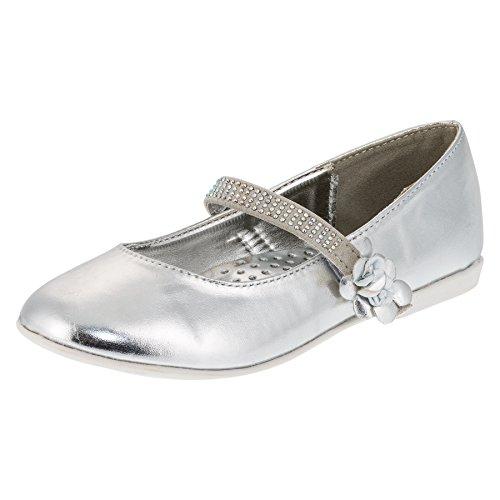 Festliche Mädchen Ballerinas Schuhe mit Klettverschluss in Vielen Farben M209si Silber 34