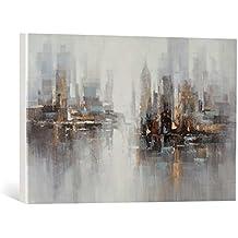 "Cuadro en lienzo pintado a mano: New Life Collection ""Abstract L"" - Cuadro pintado a mano en bastidores, 80x120 cm"